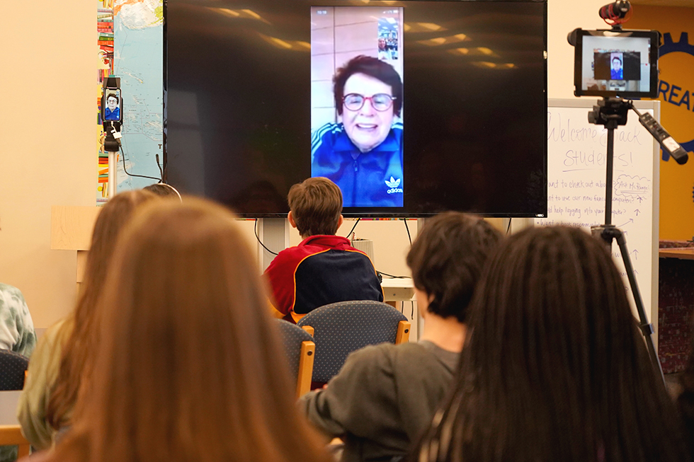 Activist and Tennis Legend Billie Jean King Talks to Students about Equality