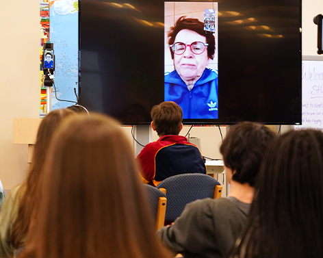 ACTIVIST BILLIE JEAN KING TALKS TO STUDENTS ABOUT EQUALITY