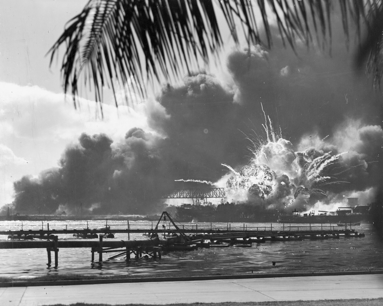 Photo of exploding vessel near Pearl Harbor in WWII.